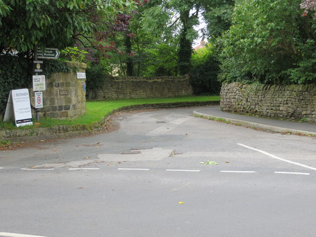 Bleach Mill Lane at its junction with Moor Lane in Menston