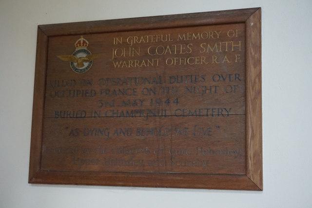 War memorial plaque to John Coates Smith