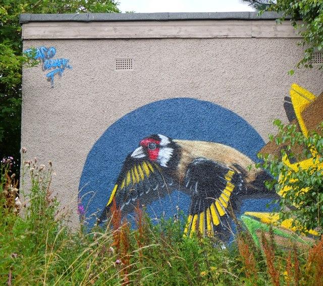Goldfinch mural, Figgate Burn Park