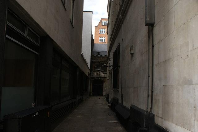 View up Clifford Inn Passage from Fleet Street