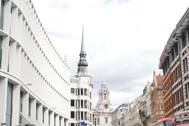 View of St. Martin within Ludgate Church and the St. Paul's Cathedral clock tower from Ludgate Hill