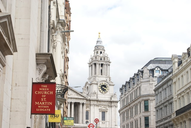 View of the St. Paul's Cathedral clock tower from Ludgate Hill