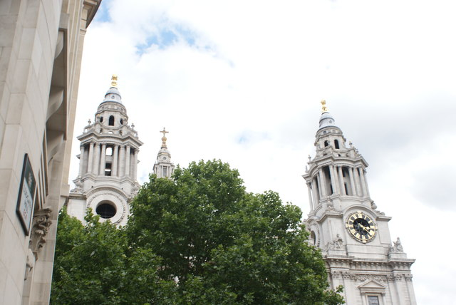 View of the St. Paul's Cathedral spires from Ludgate Hill