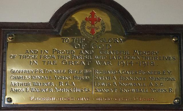 Warthill War memorial plaque