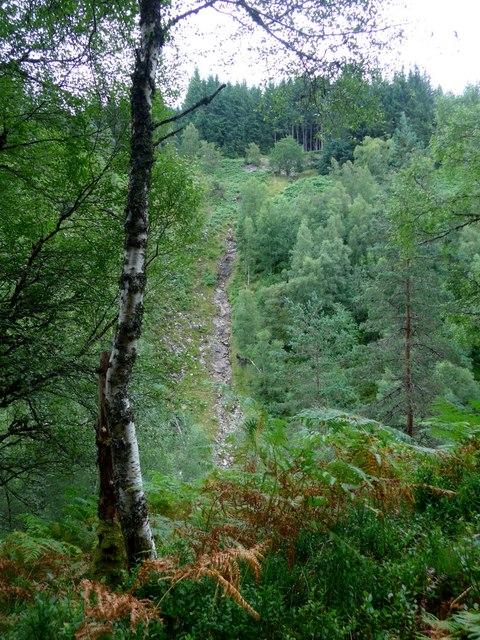 Water erosion above the Allt na Bogair