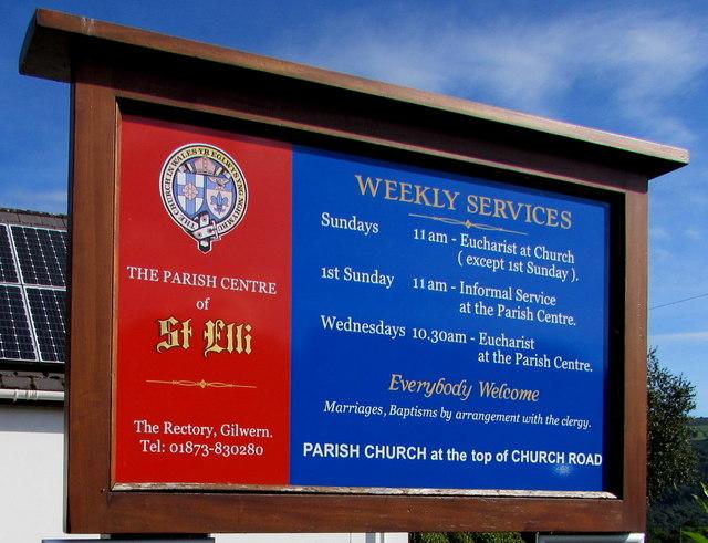 Information board outside St Elli Parish Centre, Gilwern