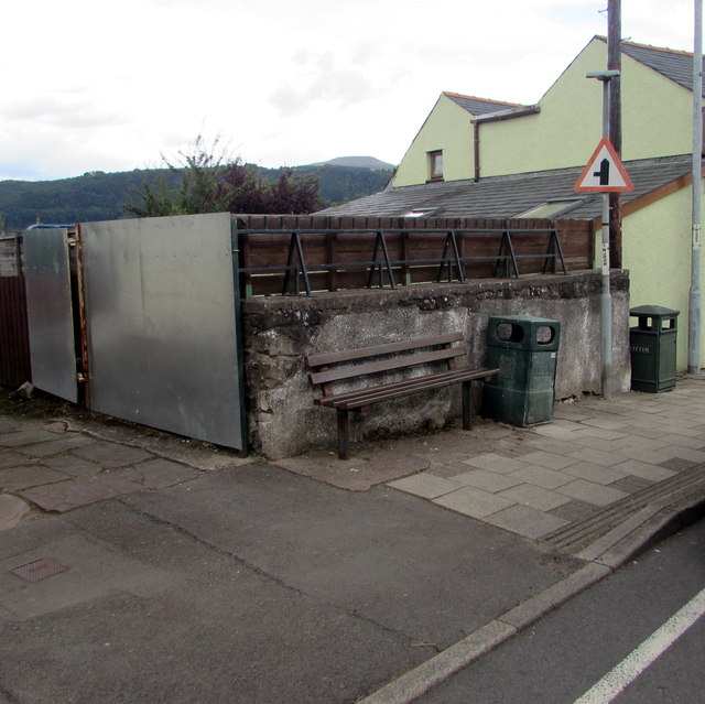 Bench and litter bins, Gilwern