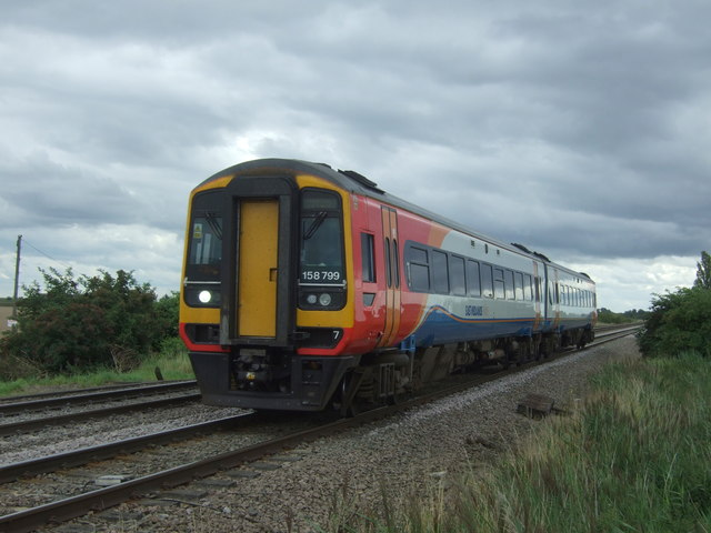East Midlands Trains Class 158, No. 158799 approaching Welney Road Level Crossing, Manea