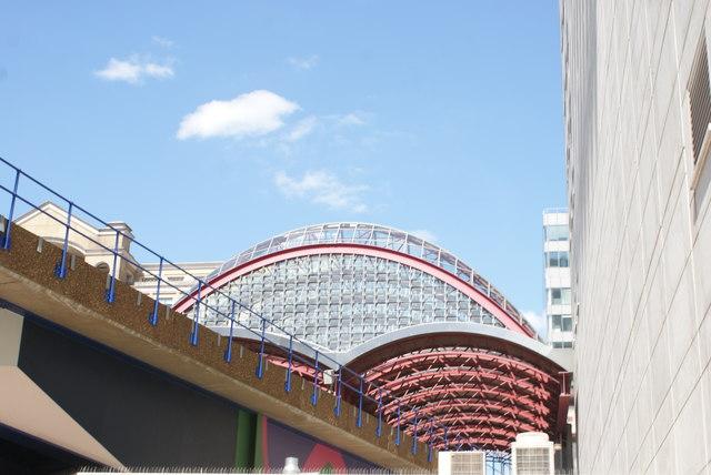 View of Canary Wharf DLR station from Mackenzie Walk