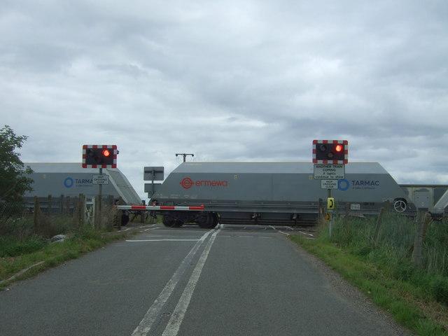 Freight train passing Welney Road Level Crossing, Manea