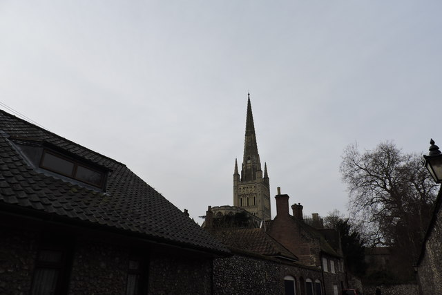 Norwich Cathedral's spire viewed from the Cathedral Close