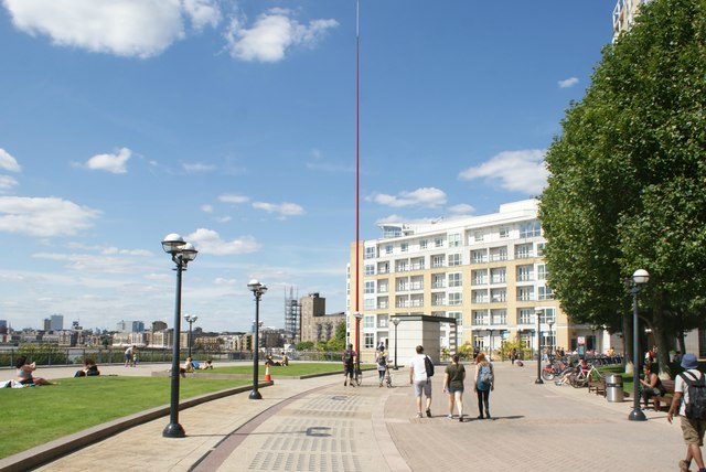 """View of apartments above the Zizzi restaurant and Ron Arad's """"Windward"""" on Canary Riverside"""