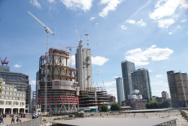 View of the Newfoundland construction site and buildings near Marsh Wall from Canary Riverside #2