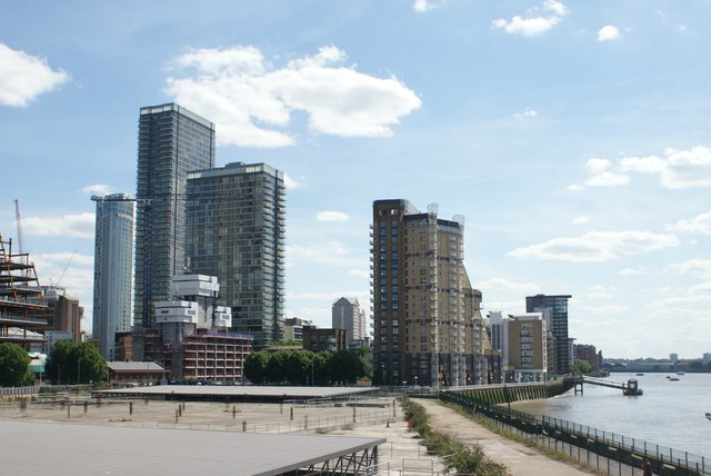 View of buildings near Marsh Wall, the Quarterdeck estate and Cascades Tower from Canary Riverside