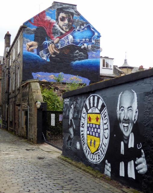 St Mirren FC and Gerry Rafferty Murals on Brown's Lane