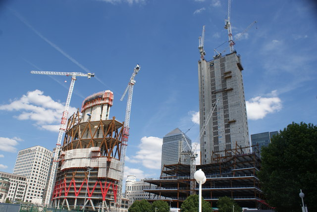 View of the Newfoundland construction site and One Canada Square from the Thames Path