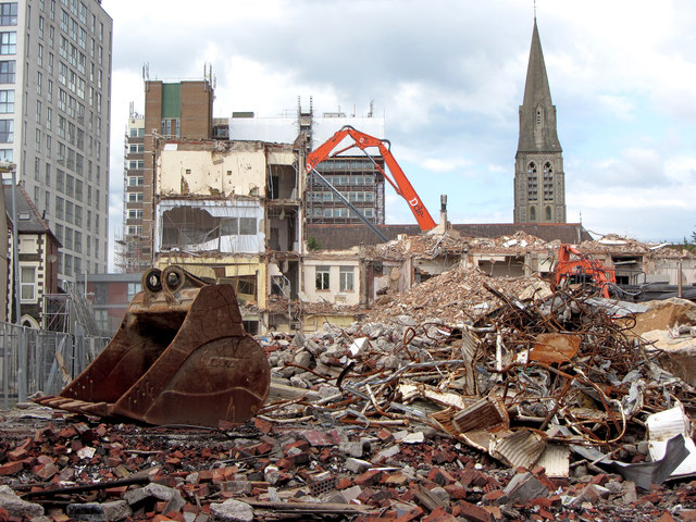 Demolition of the west wing of Cardiff Royal Infirmary