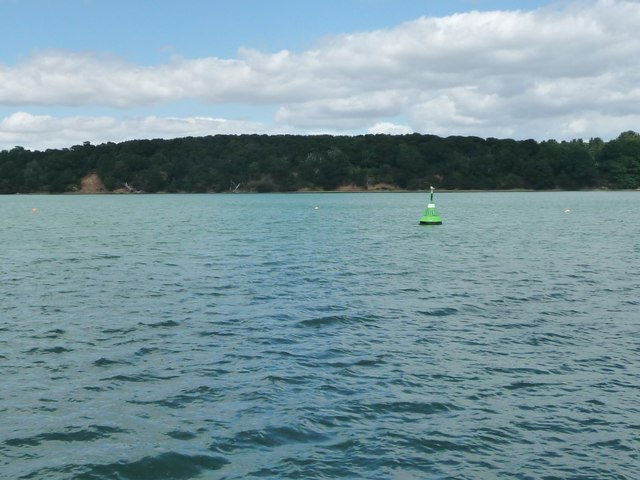 Green navigation buoy, Long Reach, River Orwell
