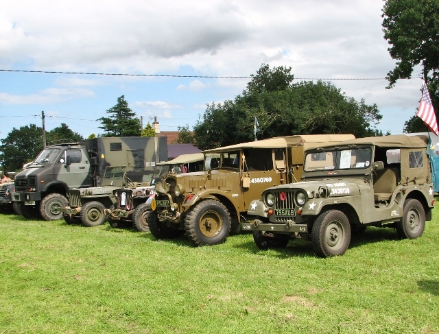 Military vehicles lined up for display