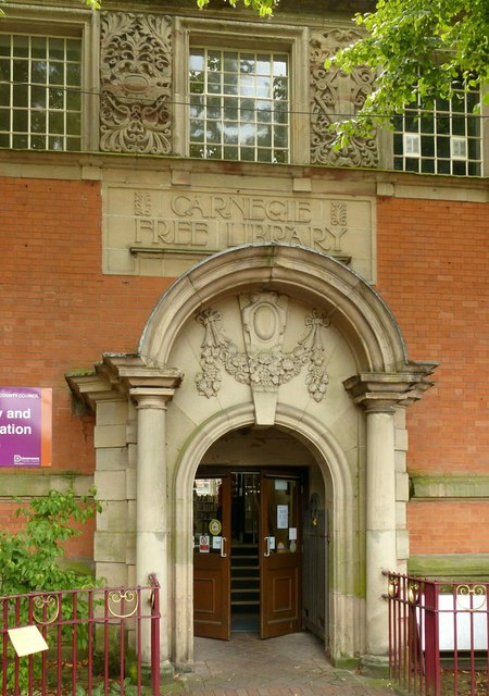 Entrance to the Carnegie Library, Ilkeston