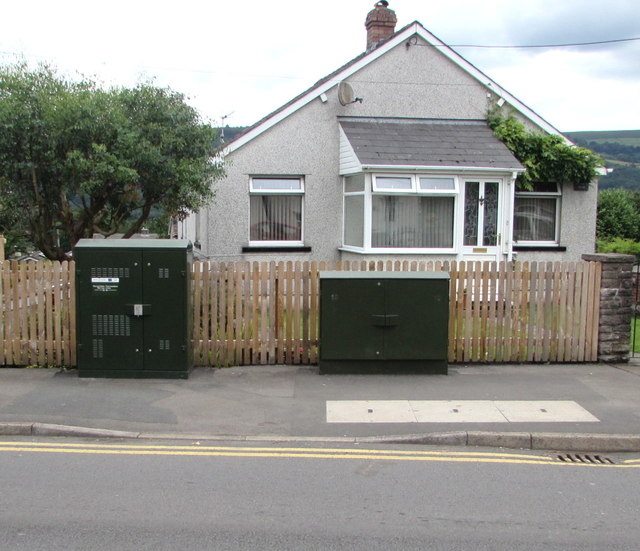 Two telecoms cabinets, Crickhowell Road, Gilwern
