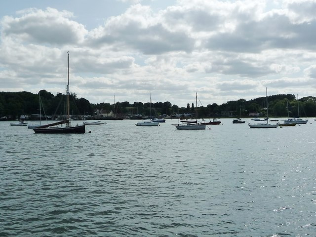 Boats on swing moorings at Pin Mill