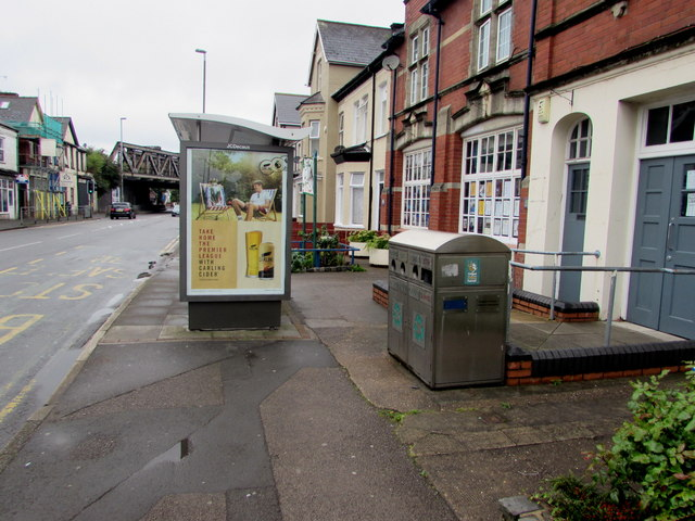 Recycling receptacle outside Maindee Library, Newport