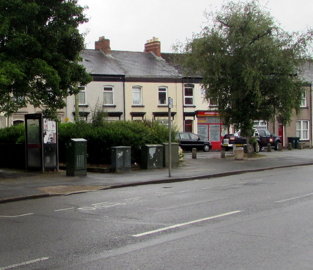 Telecoms cabinets and a BT phonebox, Maindee, Newport