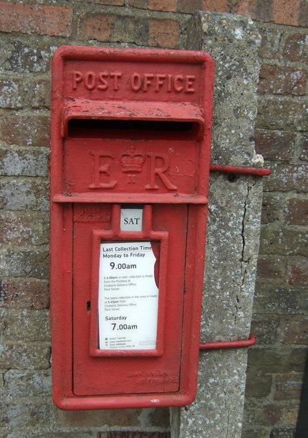Close up, Elizabeth II postbox on London Road, Chatteris