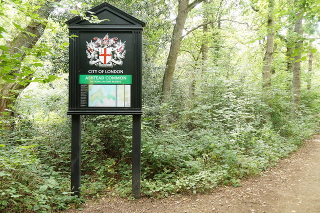 Sign for Ashtead Common on the edge of Epsom Common