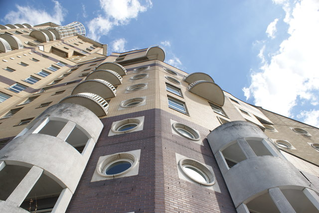 Looking up at Cascades Tower from the Thames Path #2