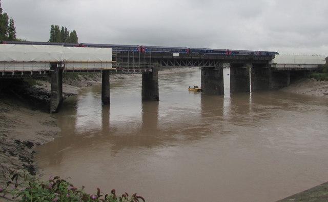 Maintenance work on the River Usk railway bridge, Newport