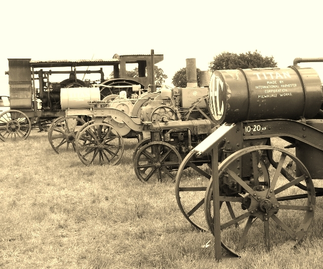 Early 1900s tractor line up