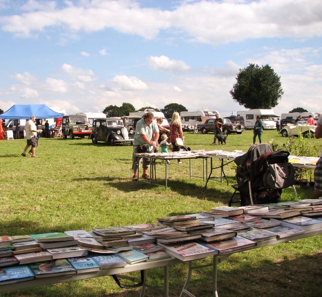 Book stall and classic cars