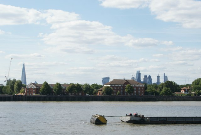 View of the Shard, Walkie Talkie, Cheese Grater, Tower 42 and Gherkin from the Thames Path