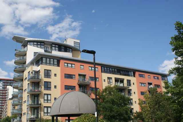 View of apartments next to Sir John McDougal Gardens from the Thames Path