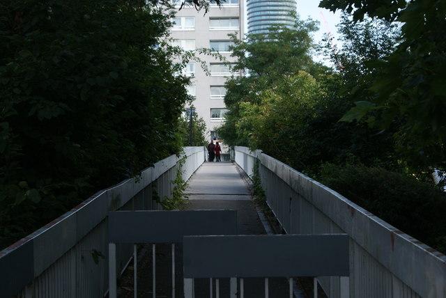 View along the footbridge connecting Sir John Mcdougall Gardens with the Quarterdeck development