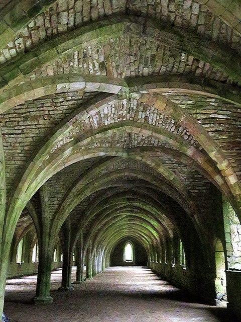 Vaulted cellarium, Fountains Abbey