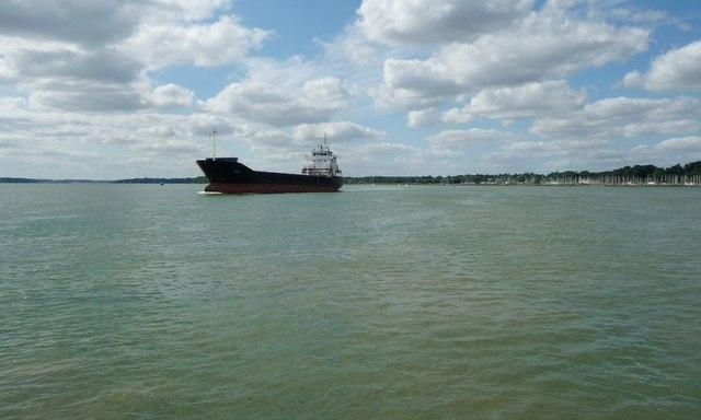 Cargo ship heading downstream near Collimer Point