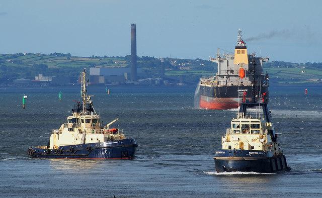 The 'Andante' departing Belfast