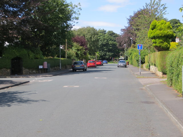 West Park Avenue at its junction with West Park Road in Roundhay, Leeds