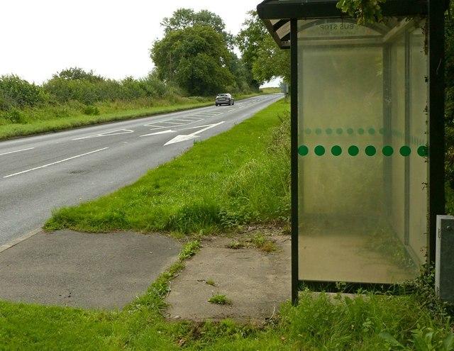 Bus stop, Ladywood Road at Oakridge Farm