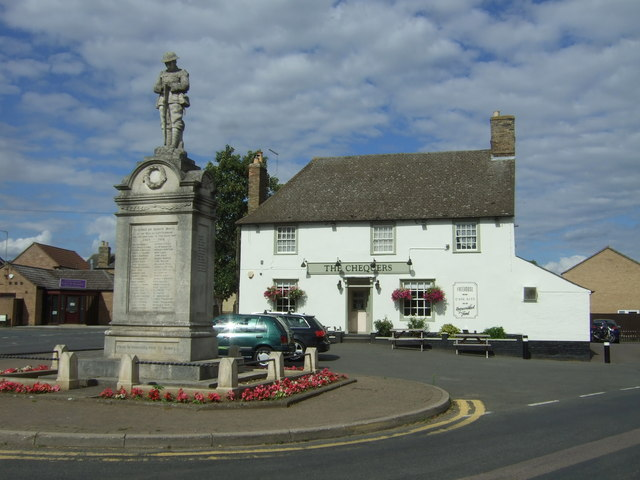 War Memorial and the Chequers public house, Cottenham