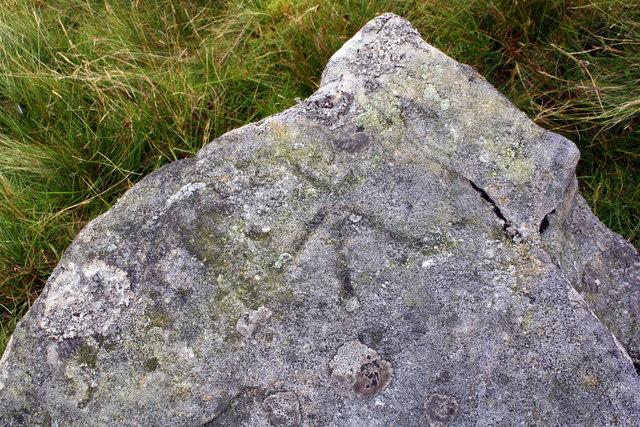 Benchmark on rock on NW flank of Wild Boar Fell
