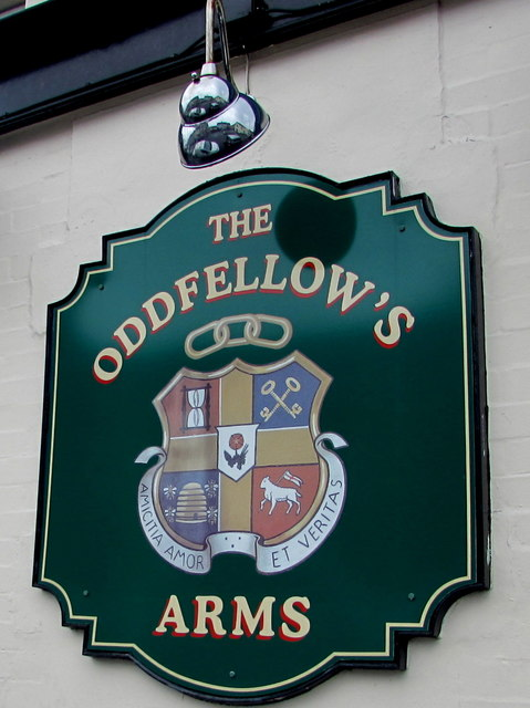 Oddfellows Arms nameboard, Duckpool Road, Newport