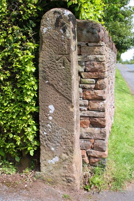 Benchmark on gatepost at entrance to Caroline Cottage, Beacon Edge