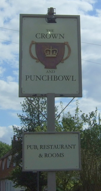 Sign for the Crown & Punchbowl, Horningsea