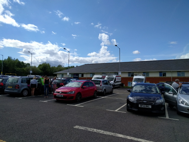 Cars and travel lodge at Reading Services on the M5, westbound