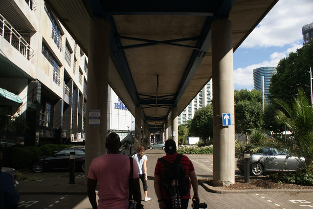 View along the underside of the DLR viaduct from Admirals Way