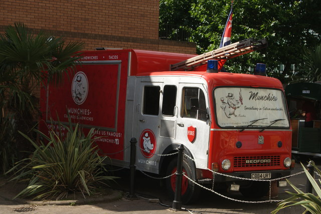 View of a Bedford fire engine doubling up as a Cuban sandwich stall in Canary Wharf